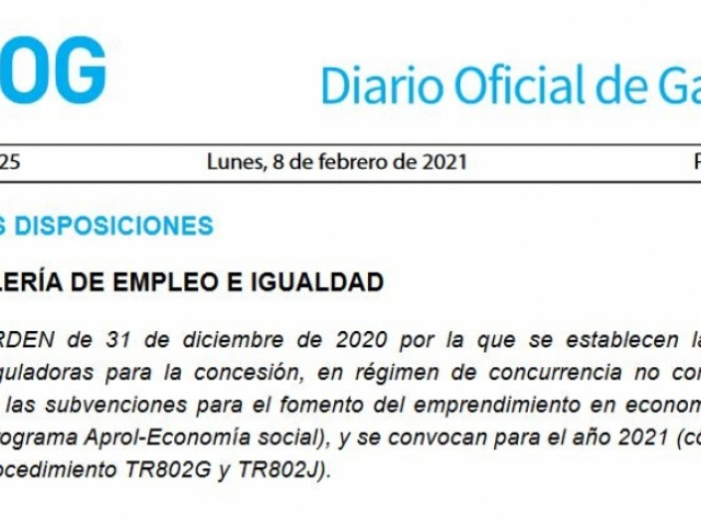 La Xunta publica una nueva convocatoria del programa Aprol Economía Social con un presupuesto de más de 3 millones de euros