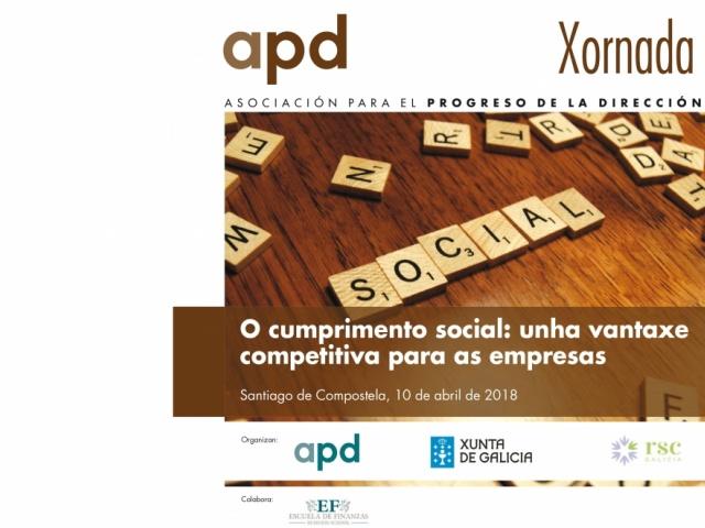 A Xunta de Galicia e a APD organizan unha xornada sobre cumprimento social